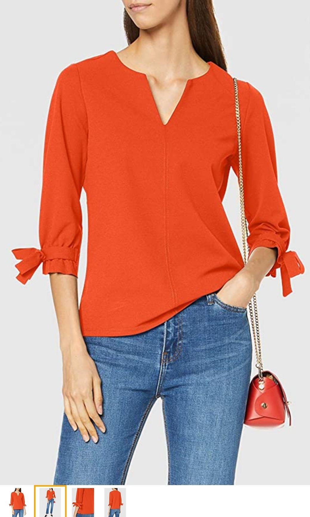 Garcia Dames Blouse met 3/4 mouwen (Orange Red)