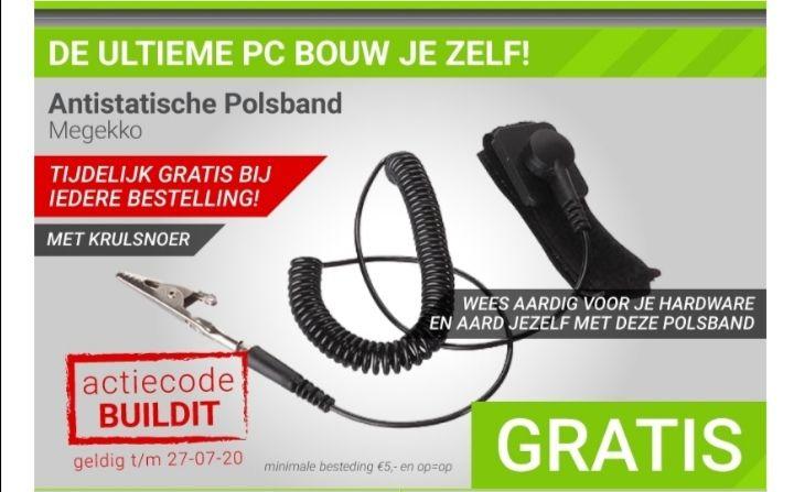 Gratis anti-statische armband bij minimale besteding van €5 @Megekko