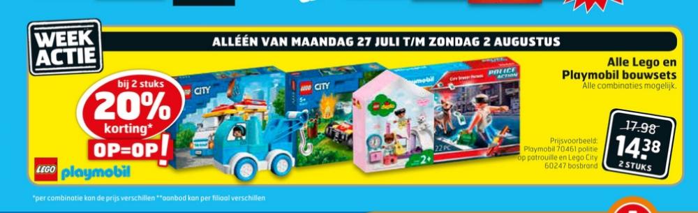20% korting bij 2 stuks Playmobil en Lego bouwsets weekactie bij Trekpleister