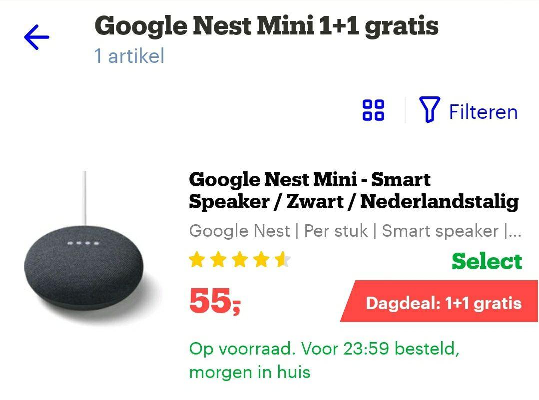 Google nest mini 1+1 gratis @bol.com
