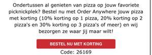 (ORDER ANYWHERE) 10% korting op 1 pizza, 20% op 2 pizza's, 30% op 3 pizza's