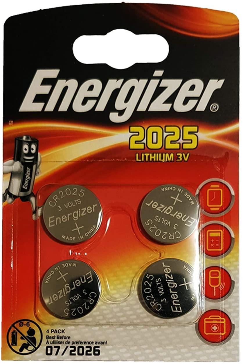"Energizer ""CR2025"" lithium knoopcel Verpakking van 4 stuks. Lithium 3V"