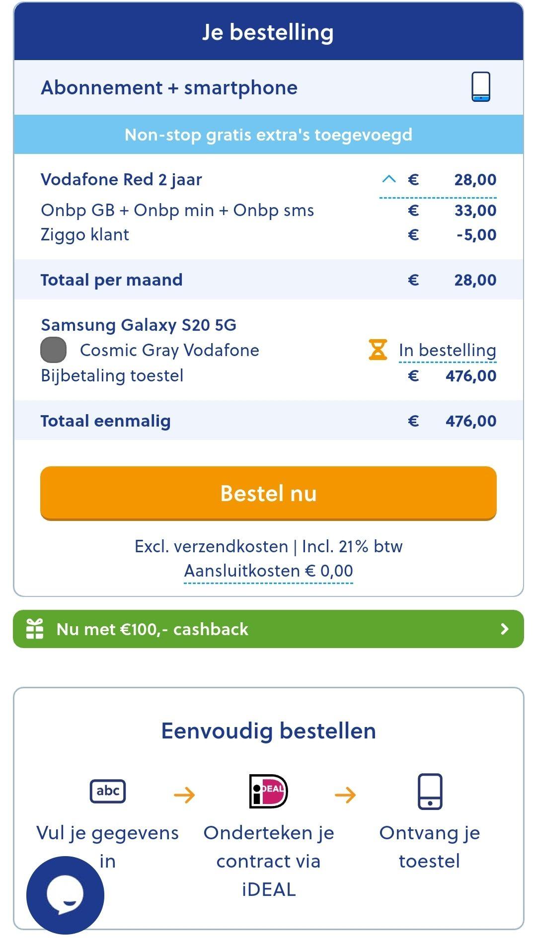 Samsung Galaxy S20 5G i.c.m. vodafone red onbeperkt abonnement
