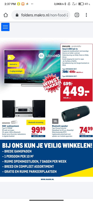 "Philips UHD led-tv 50/55"" + 10 films"