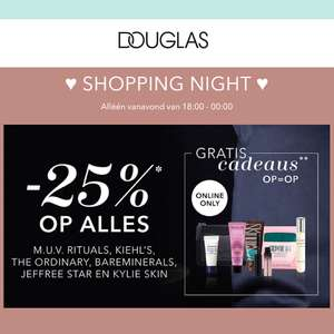 18.00-23.59 uur: Shopping Night: -25% korting @ Douglas