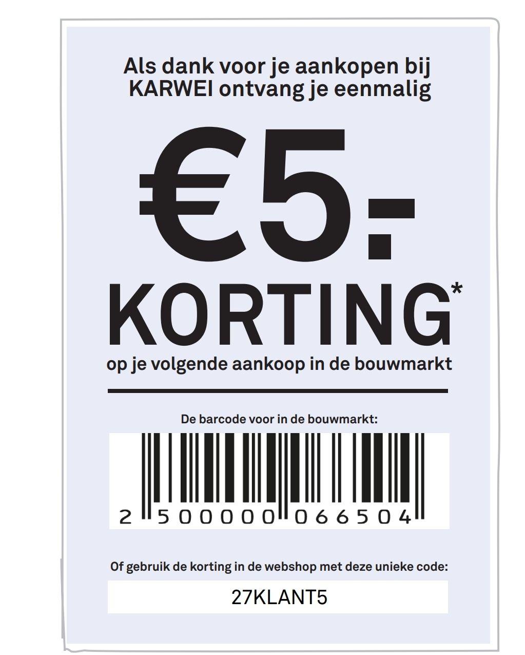 5 euro korting @ Karwei (vanaf 50 euro) in winkel of webshop. Geldig tot 31-12