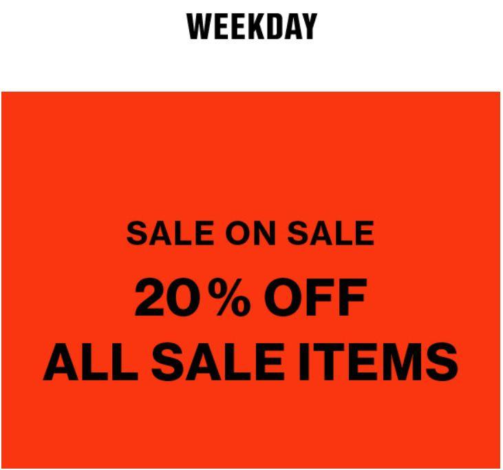 SALE tot -80% + 20% extra @ Weekday