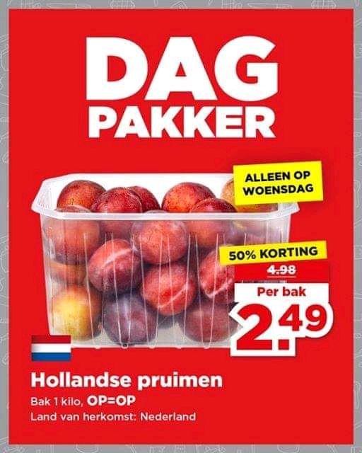 1 kilo Hollandse Pruimen van €4,98 voor €2,49 (PLUS Dagpakker)