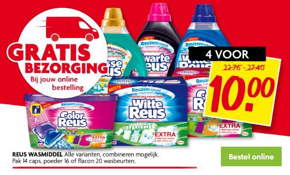 Reus wasmiddel 4 voor €10 / 880 gram/1 liter verpakkingen