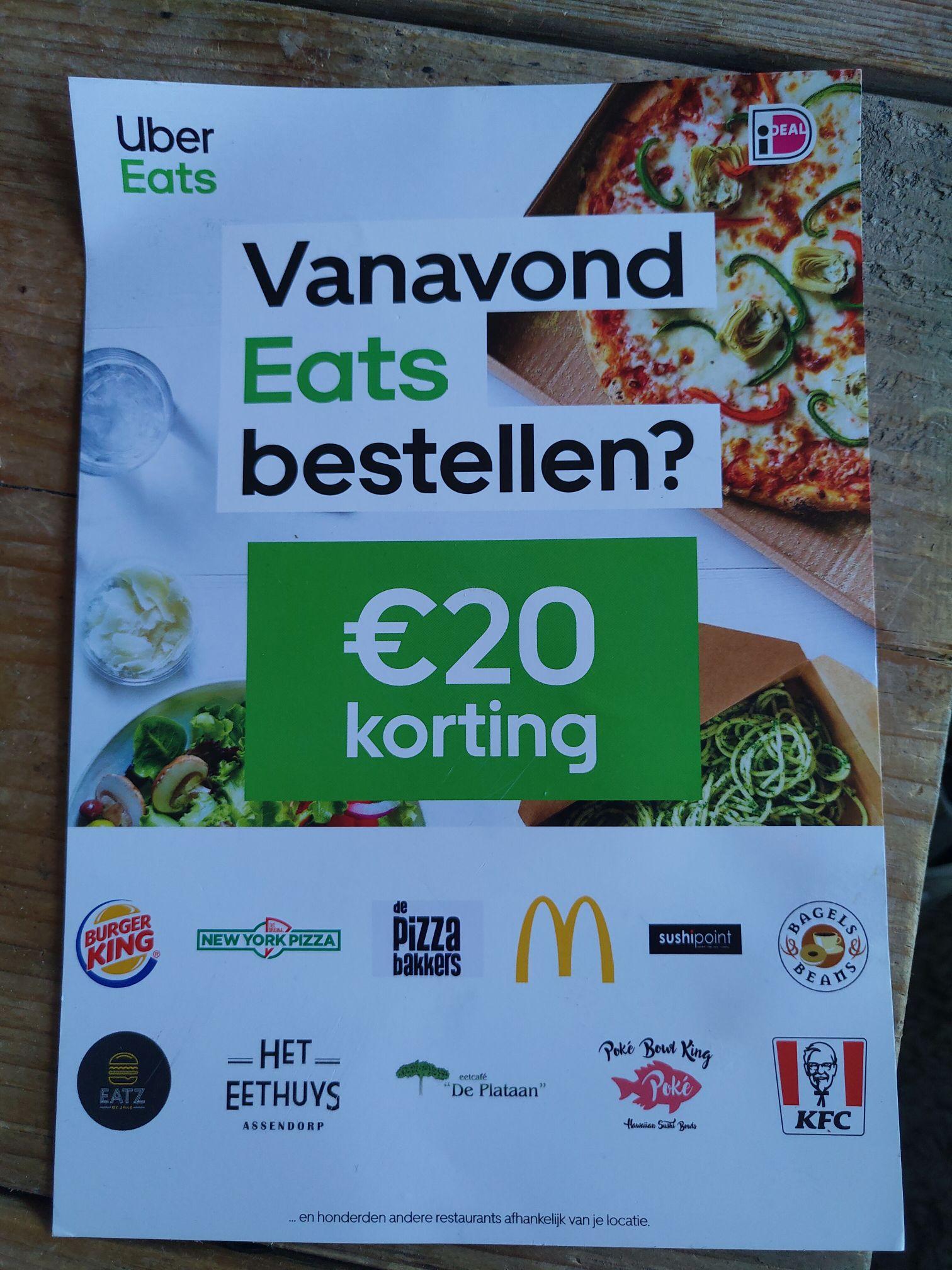 2x 10 euro korting op je bestelling bij Uber Eats