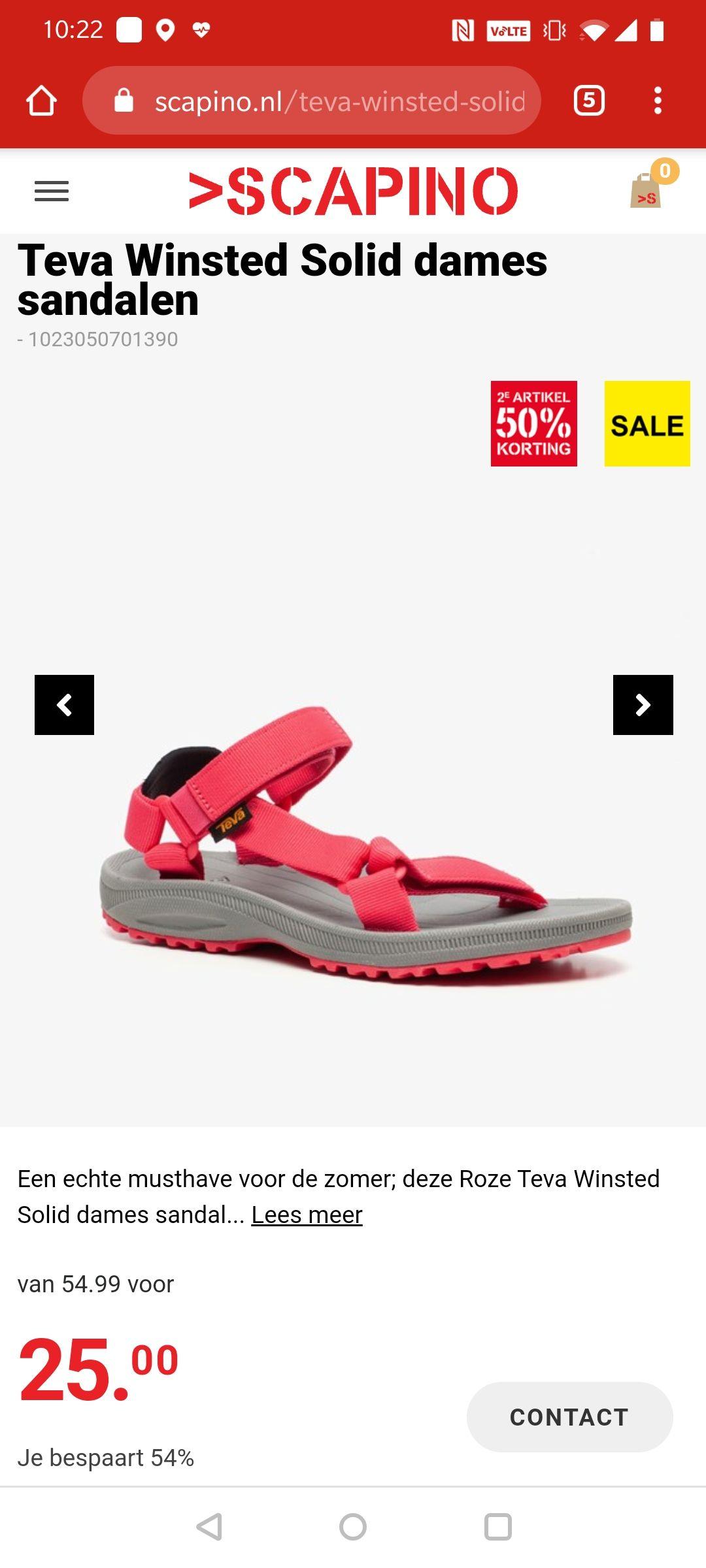 Teva sandalen - 2e paar halve prijs @ Scapino