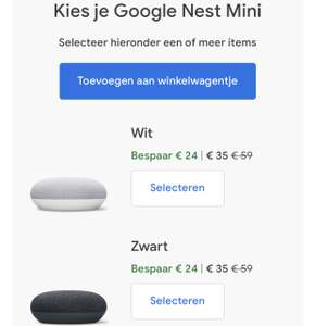 Google nest mini (2e gen.) voor €35 ipv €59