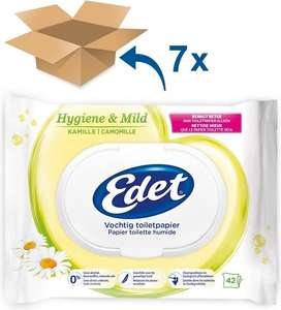 [Bol.com] 7x Edet Kamille Vochtig Toiletpapier - 294 stuks (ideaal mee te nemen / voor op de camping)