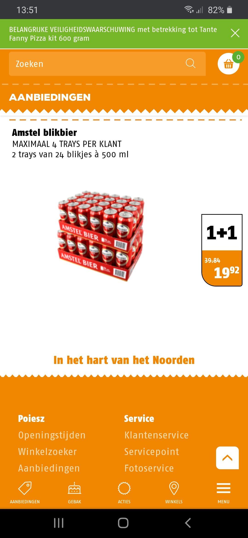 48 halve liters Amstel bier voor €19,92
