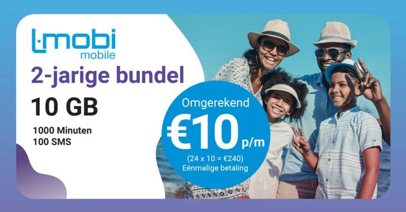 L-Mobi Mobile Prepaid 2 jaarsbundel: 10GB - 1000 min - 100 sms voor 10 euro per maand!