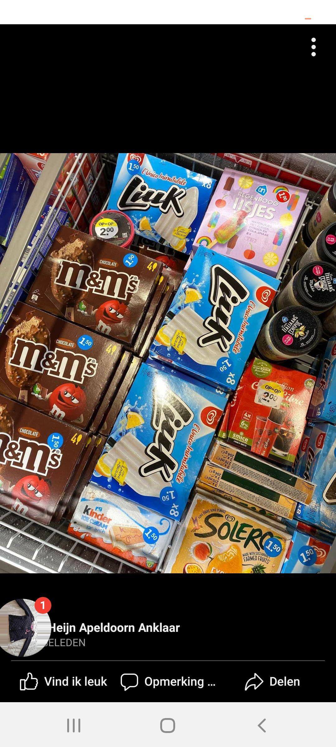 Goedkoop M&M chocolate ijs bij AH Apeldoorn