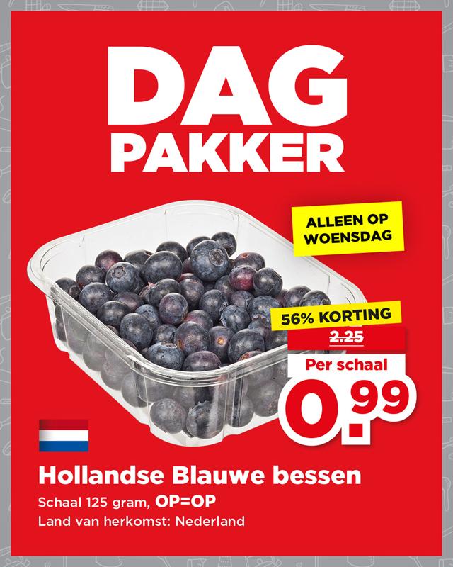125g Hollandse Blauwe Bessen van €2,25 voor €0,99 @ PLUS (Dagpakker)