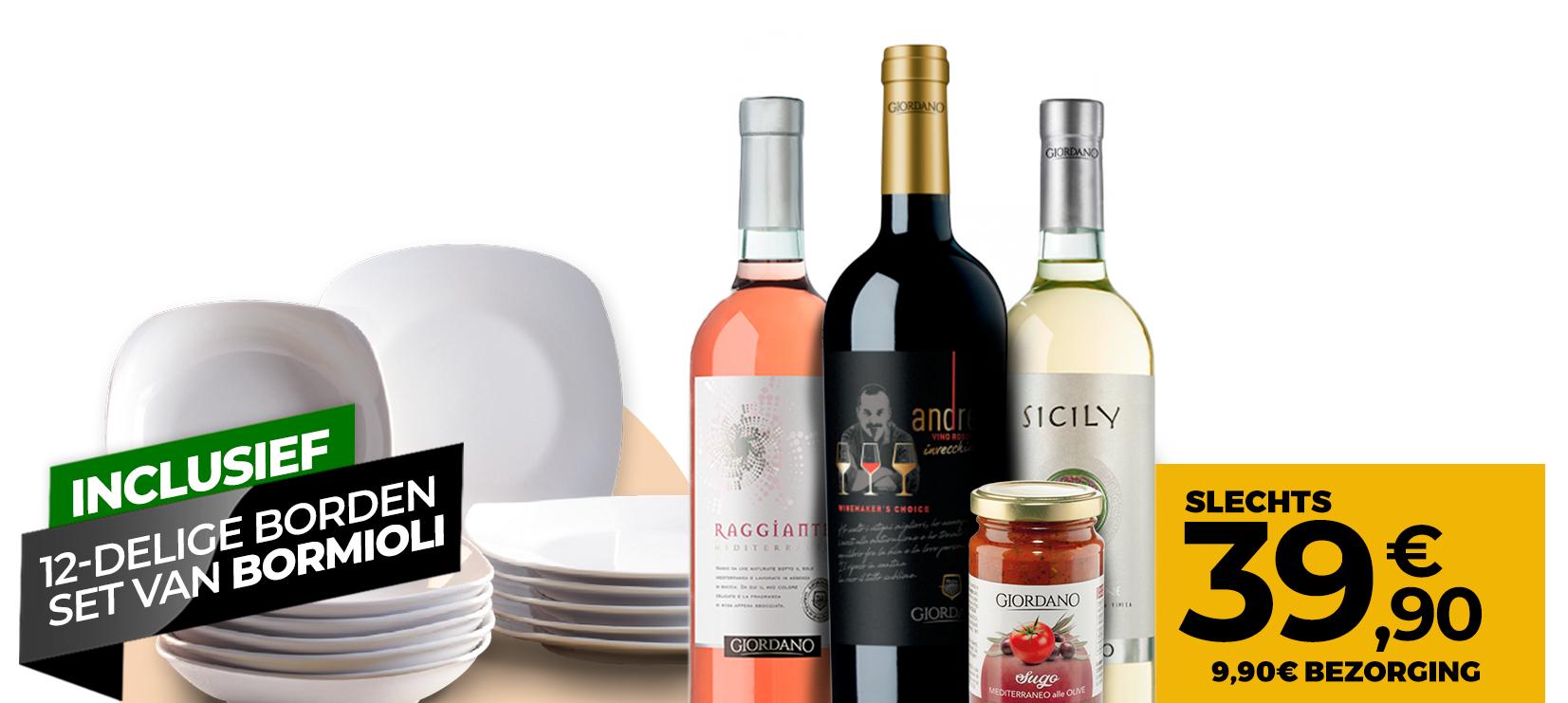 10 wijnen + 1 Delicatesse + 12 Rocco Bormioli borden @ Giordano Vini