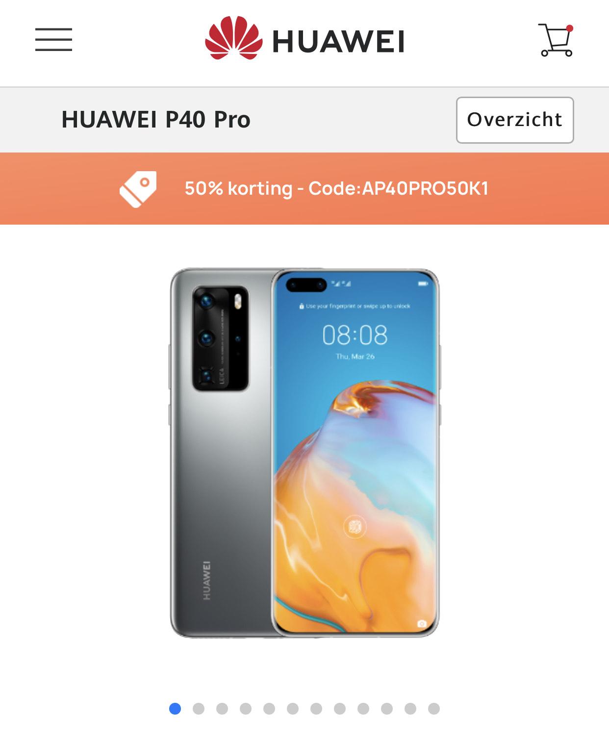 Huawei p40 pro met 50% korting!