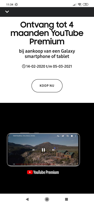 Gratis 2/4 mnd YouTube Premium bij aankoop van Samsung smartphone/tablet