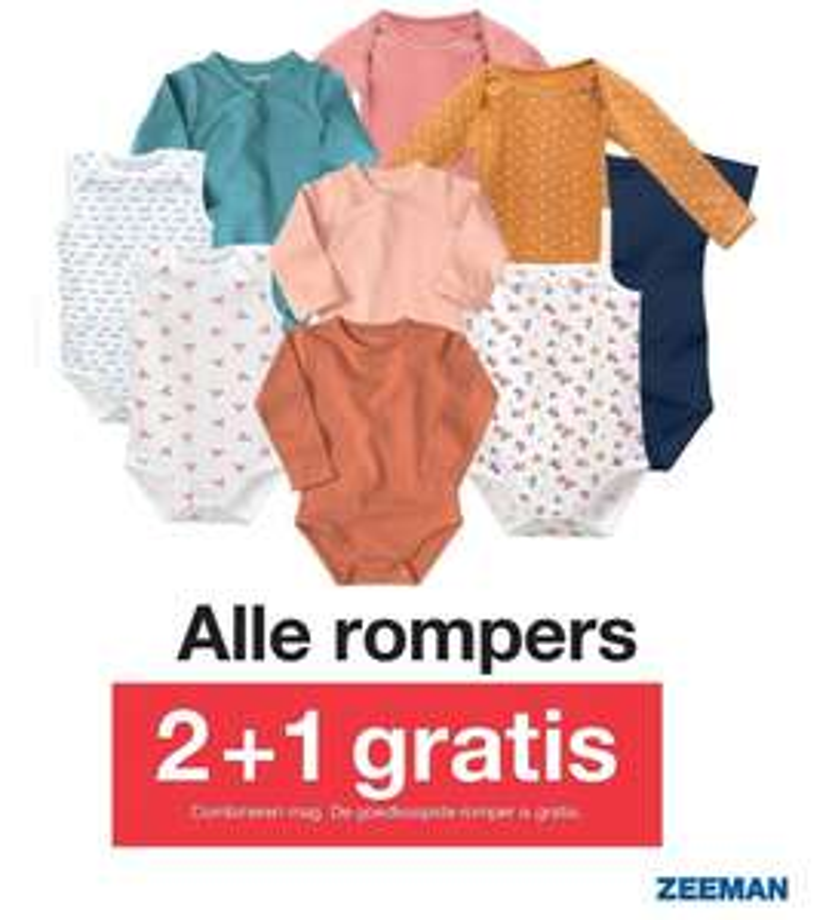 Officieel vanaf zaterdag: Alle rompers 2+1 gratis bij Zeeman (goedkoopste gratis)