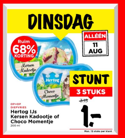 Hertog IJs Kersen Kadootje of Choco Momentje 3 voor €1,- @Vomar