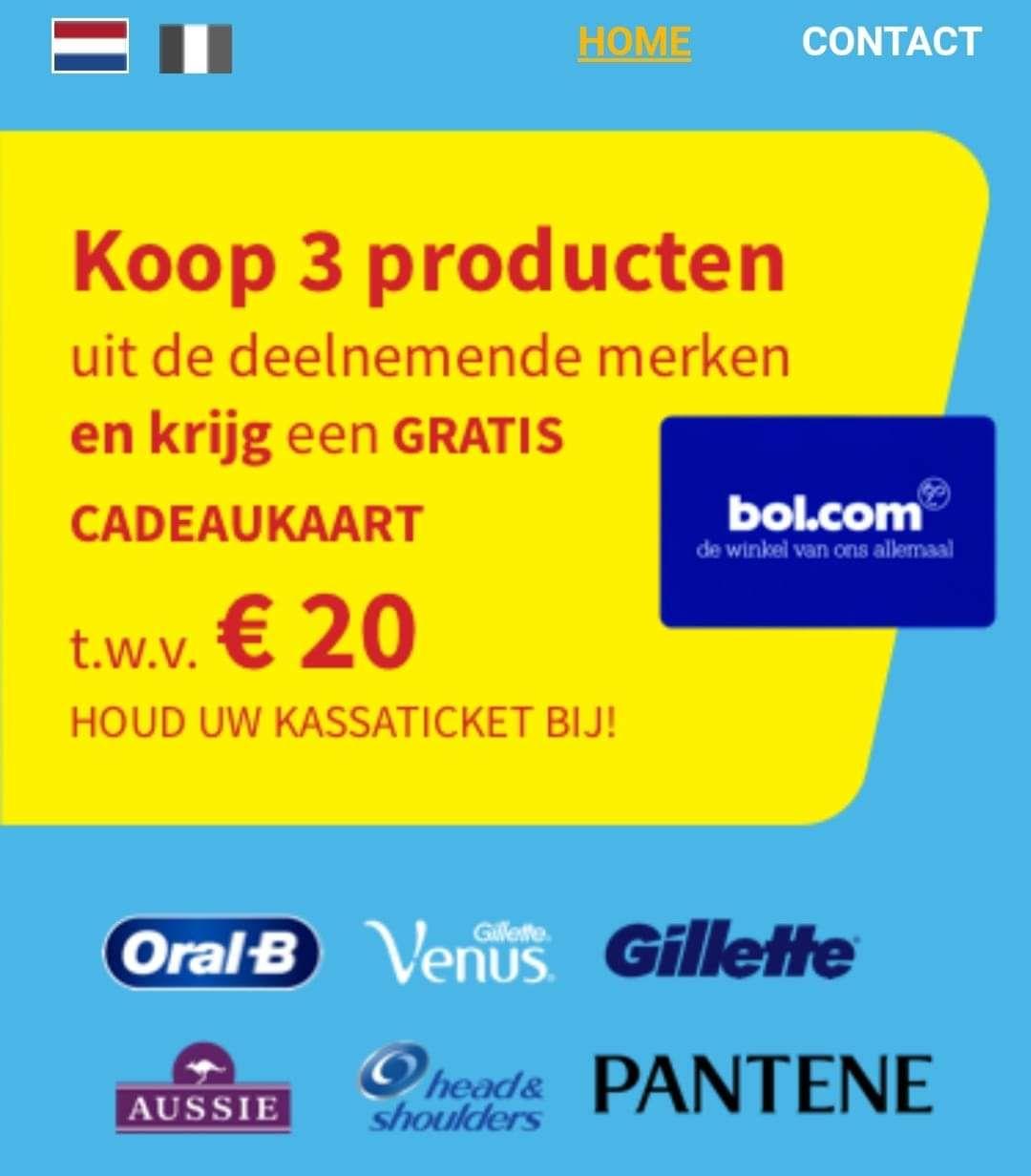 [Grensdeal België] Gratis €20 bol.com bon bij 3 actieproducten bij Delhaize