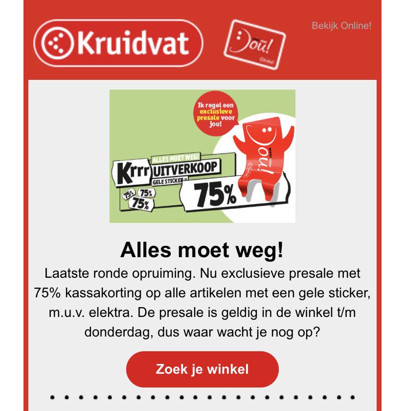Kruidvat - 75% korting alle artikelen met een gele sticker, m.u.v. elektra