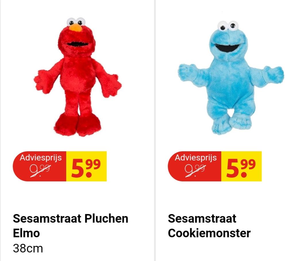 Sesamstraat Elmo of Koekiemonster knuffel €5,99 per stuk bij Kruidvat