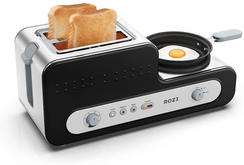Rozi Broodrooster 5 in 1 met Koekenpan 2 Slice Toaster