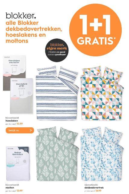 1+1 gratis op dekbedovertrekken, hoeslakens en moltons @ Blokker