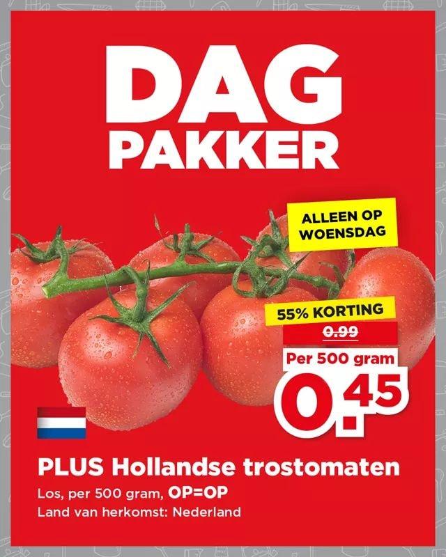 500g Trostomaten voor €0,45 @ DagPakker PLUS (week 33)