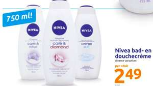 Nivea Bad- en Douchecrème 750 ml voor €2,49 bij Action