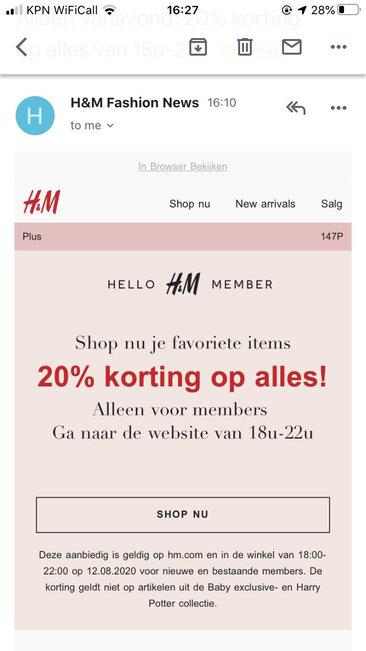 20% korting bij H&M vanavond voor members tussen 18-22u