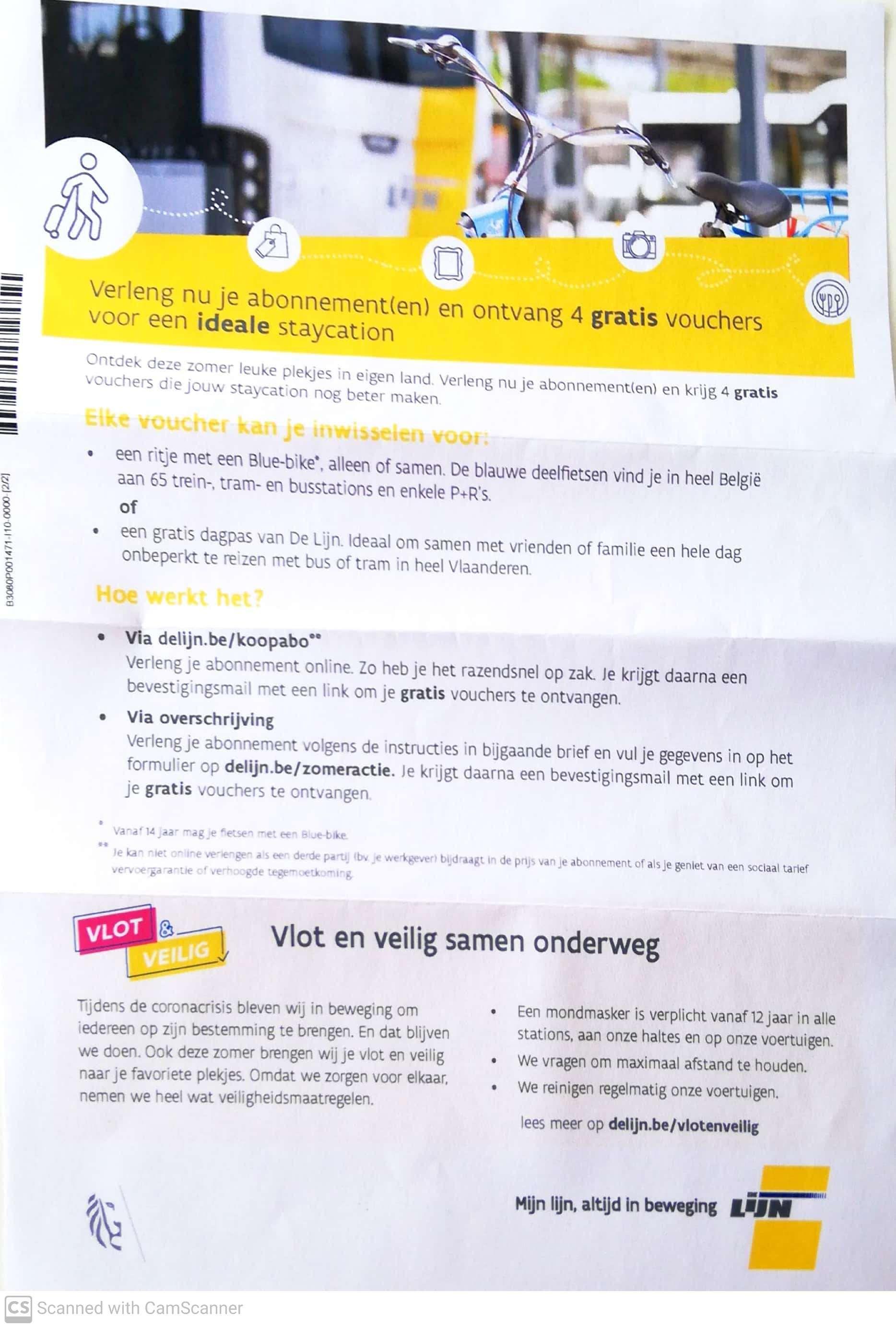[België] 4 gratis vouchers Delijn