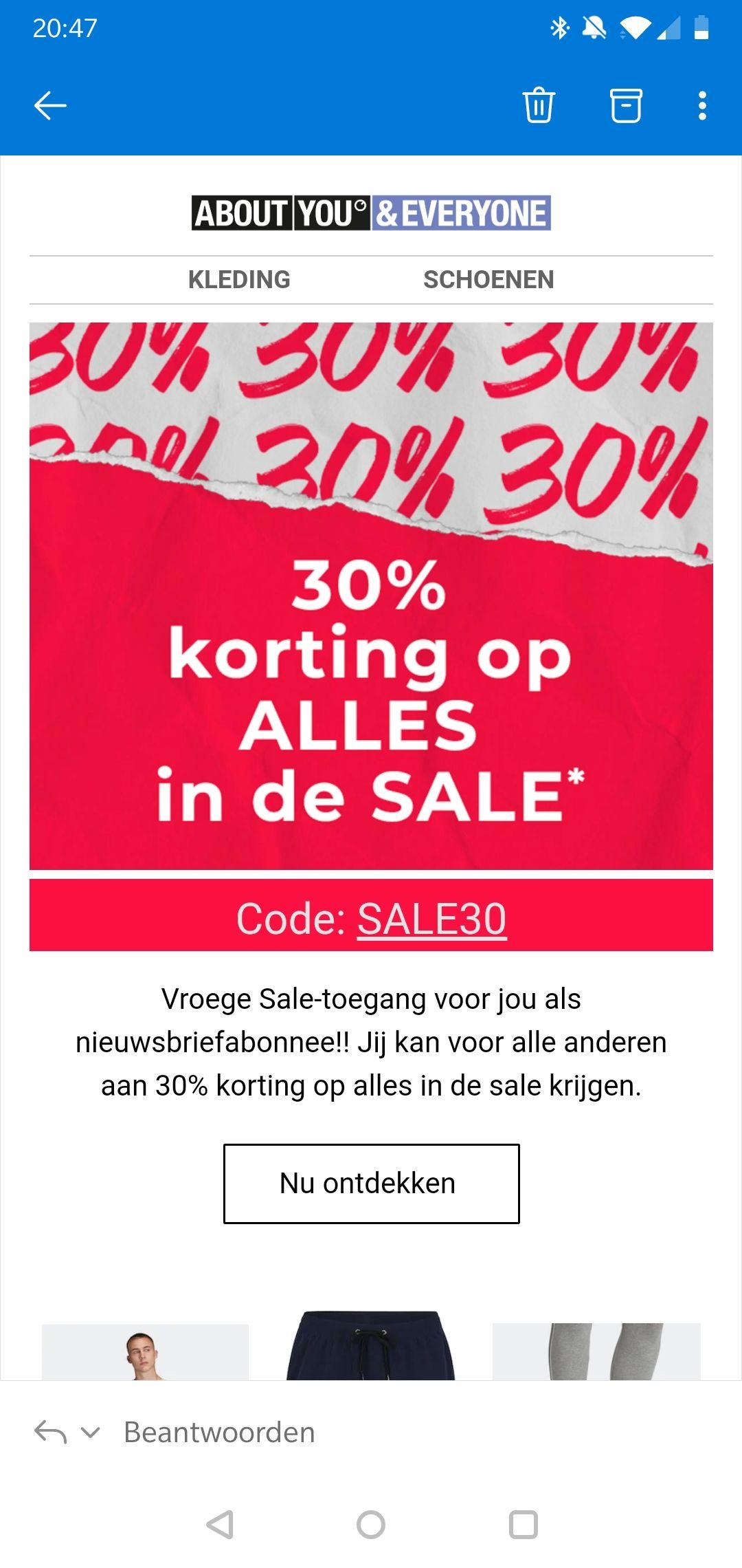 30% extra korting op afgeprijsde producten bij @About You