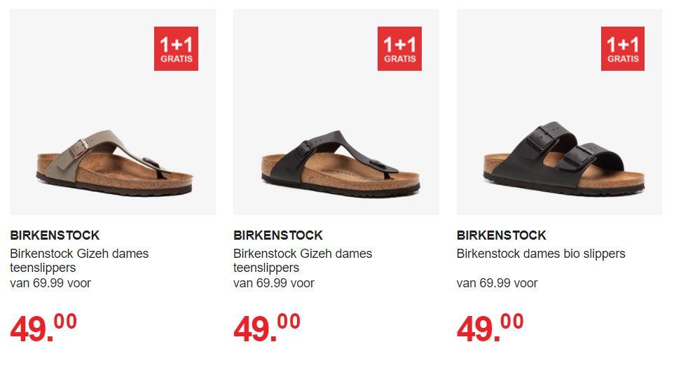 Birkenstock sale 1+1 gratis (dames) @ Scapino