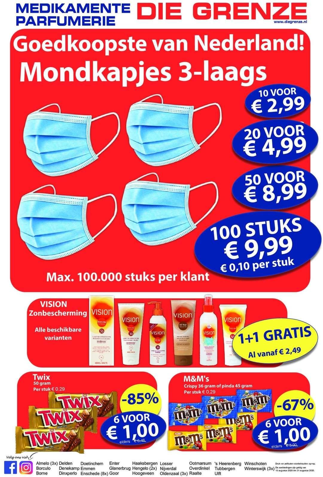 100 mondkapjes voor €10 bij Die Grenze