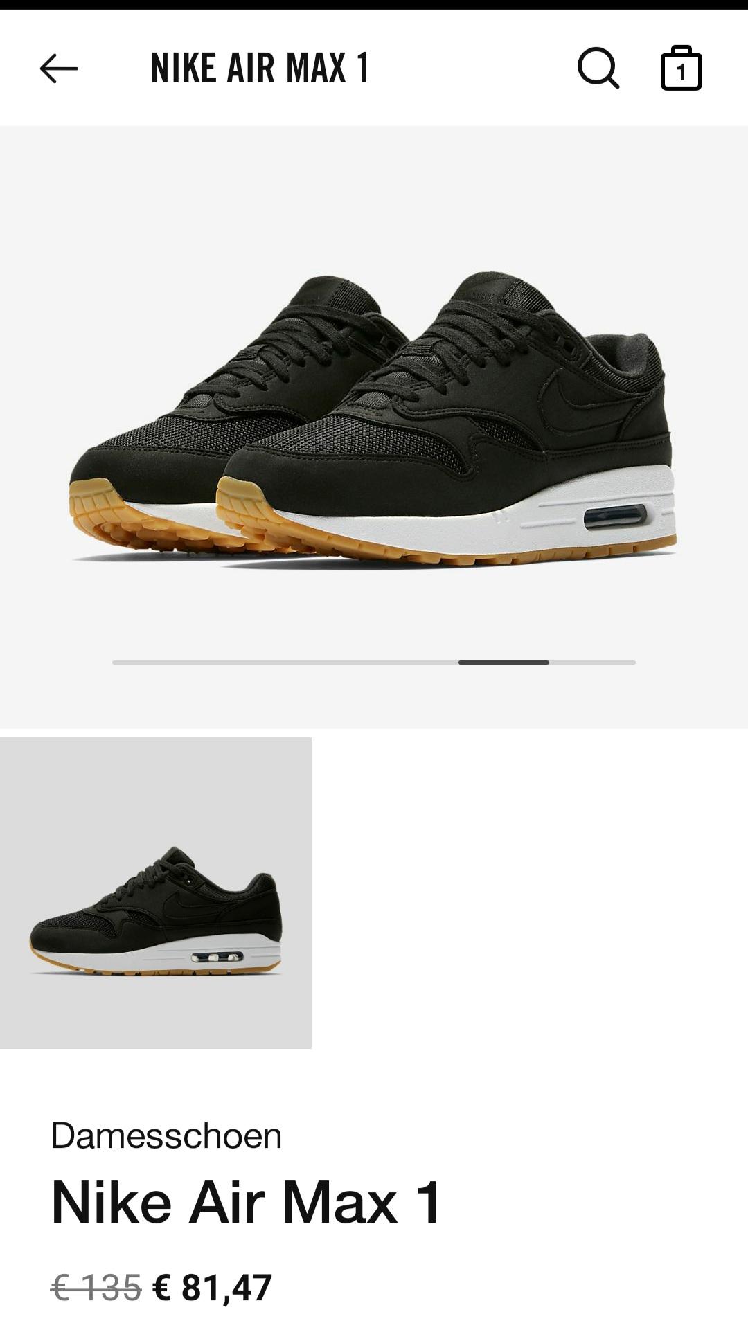 WMNS Nike Air Max 1 Black Gum 319986-037