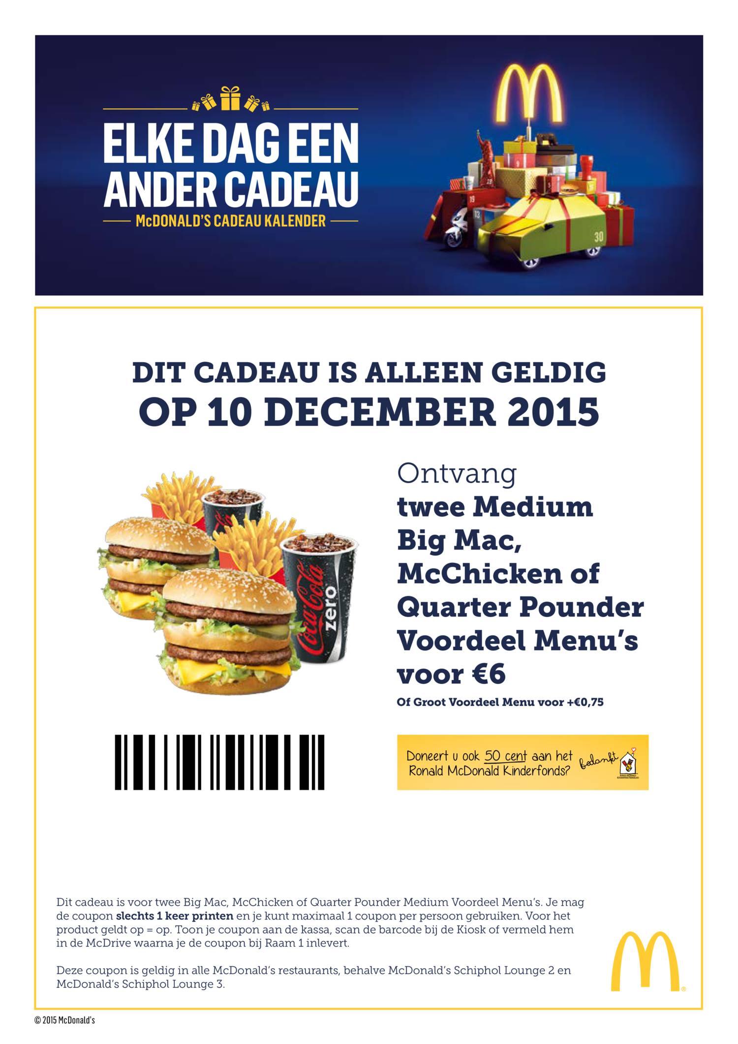 Twee Medium Bigmac, McChicken of Quarter Pounder Voordeel Menu's voor 6 euro @ McDonald's