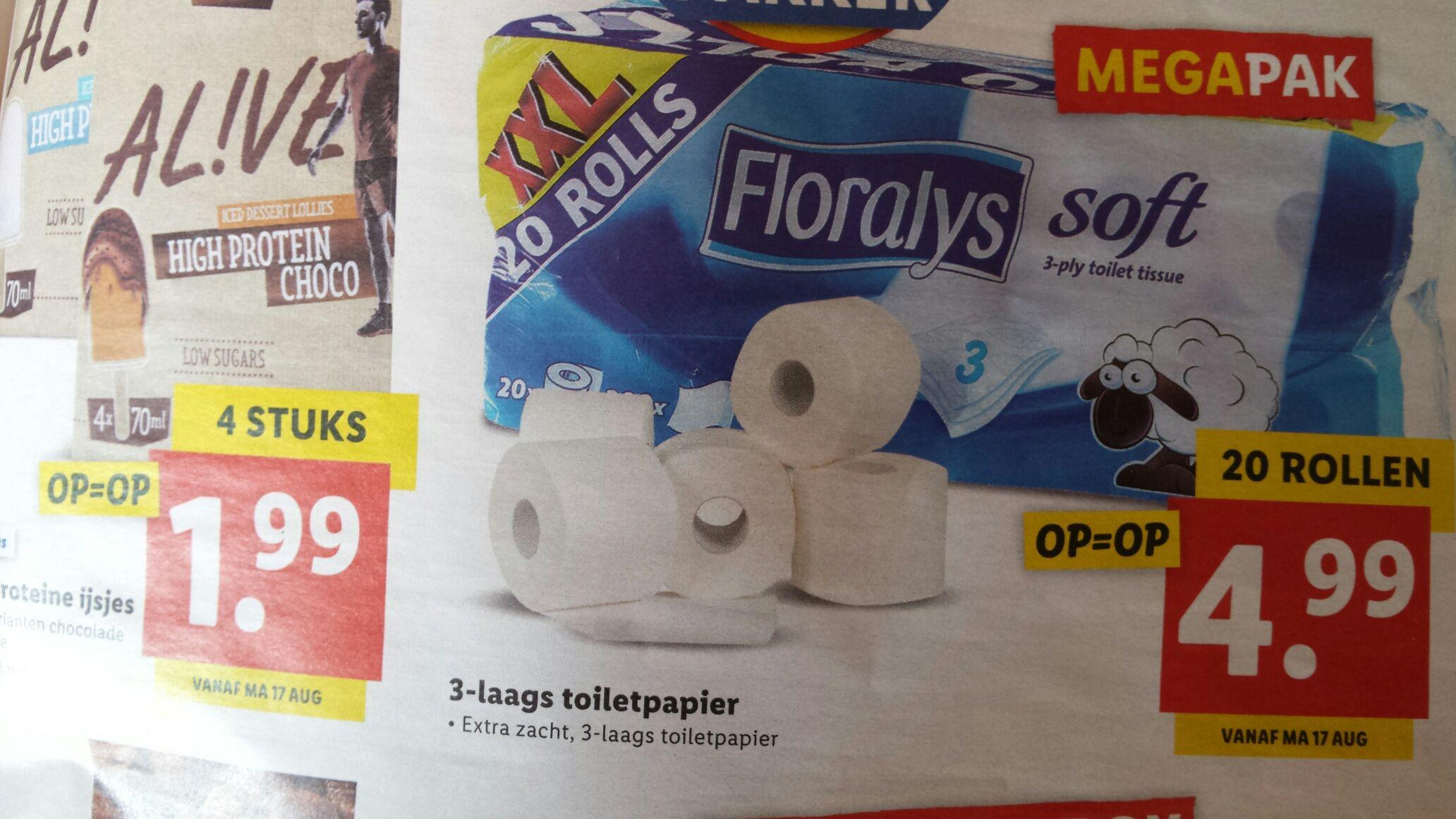Toiletpapier Lidl megapak 20 rollen, 3 laags, 200 velletjes per rol.