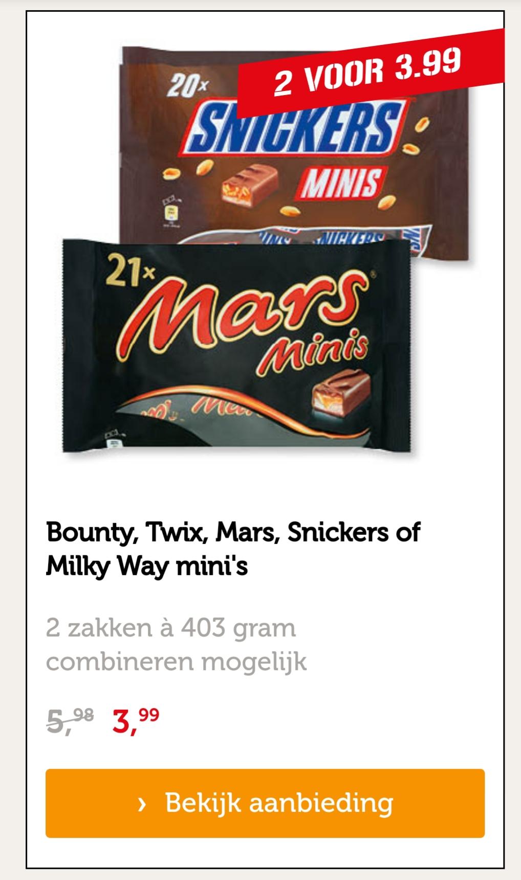Bounty, Twix, Mars, Snickers of Milky Way mini's 2 zakken voor €3,99 bij Coop