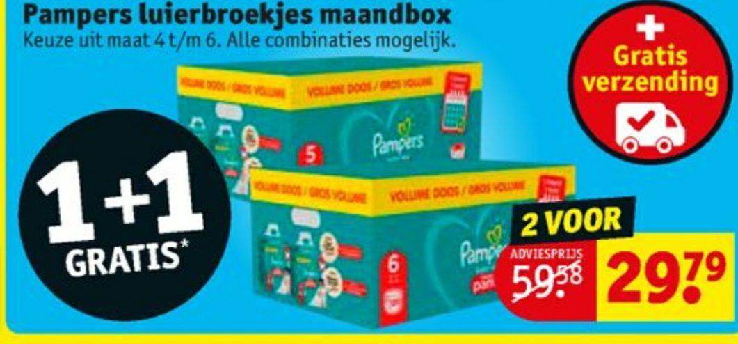 1+1 gratis: Pampers pants maandbox maat 4 t/m maat 6