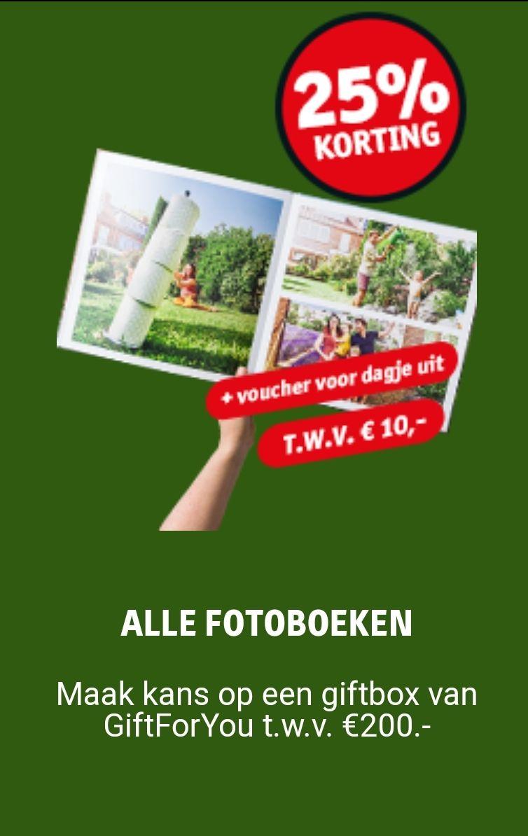 25% korting op alle Kruidvat fotoboeken + een voucher voor een dagje uit t.w.v. €10 + kans op een giftbox t.w.v. €200