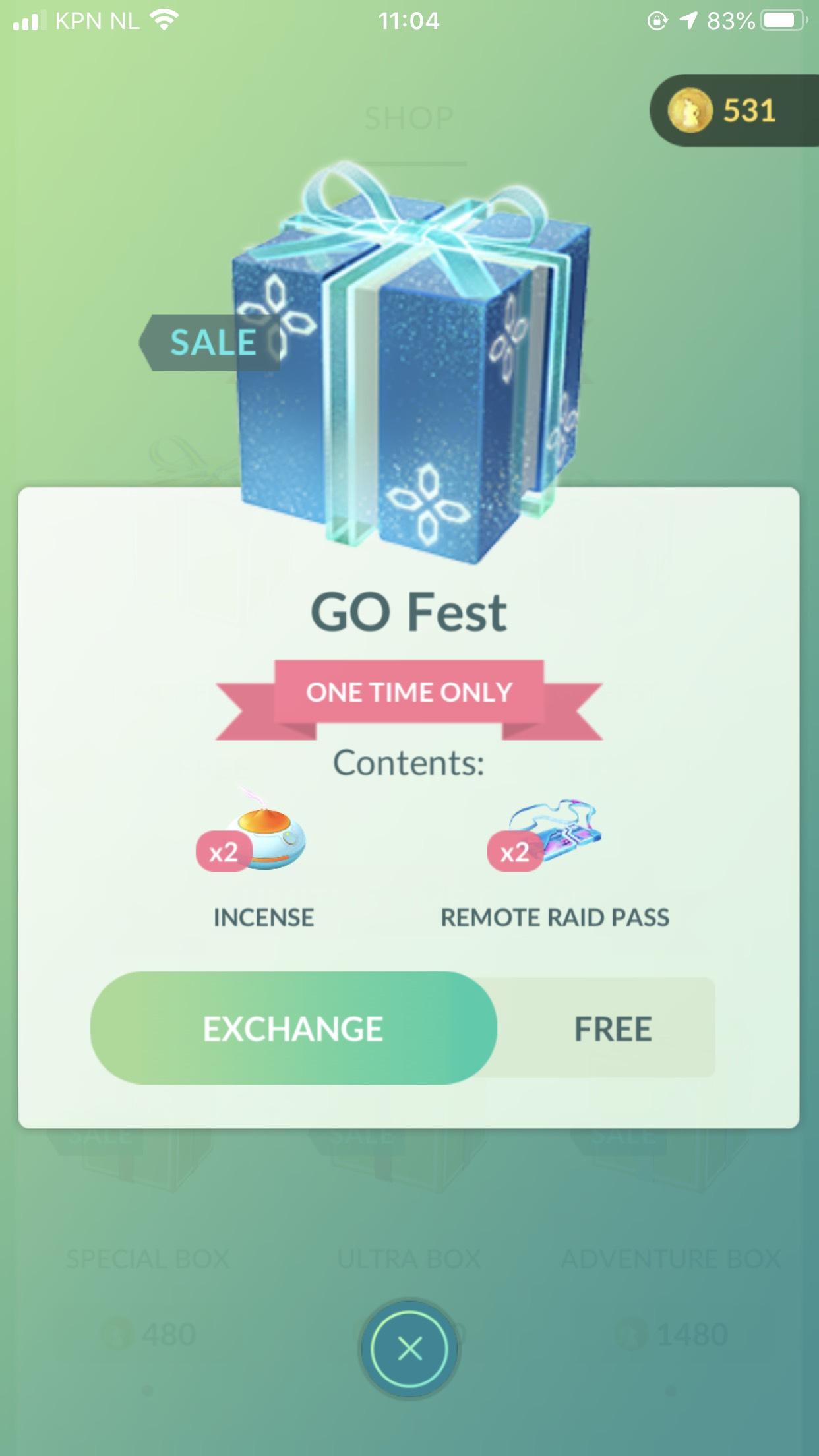 Pokémon GO: Gratis Go Fest Make Up Day event box (voor tickethouders)