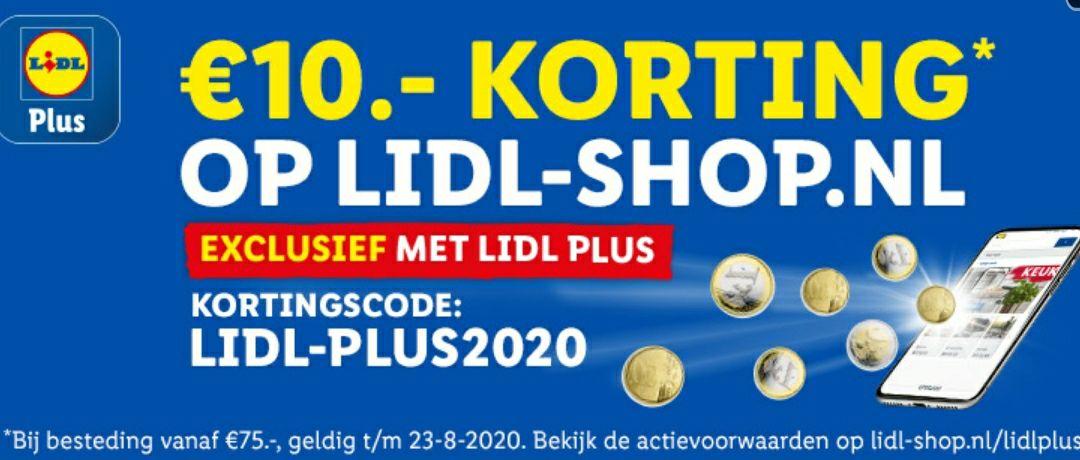 10 euro korting op Lidl-shop.nl bij besteding van 75 euro.