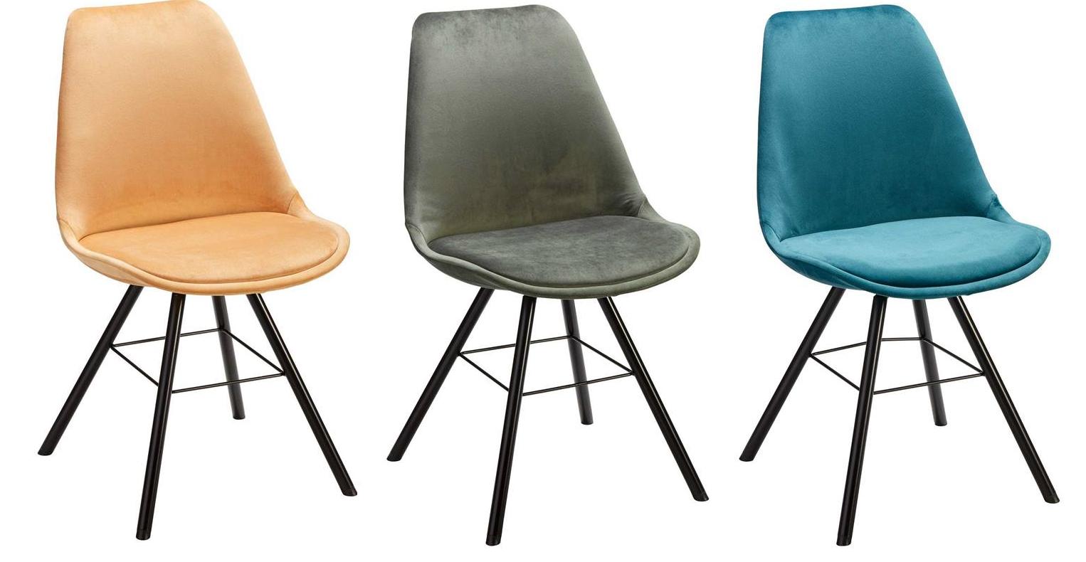 4 stoelen velours 'Cabella' in oker, groen of petrol voor €115 (was €235) @ Kwantum