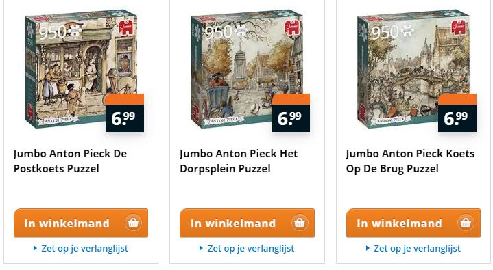 Anton Pieck Puzzels 950 stukjes (3 soorten) voor €6.99 per puzzel