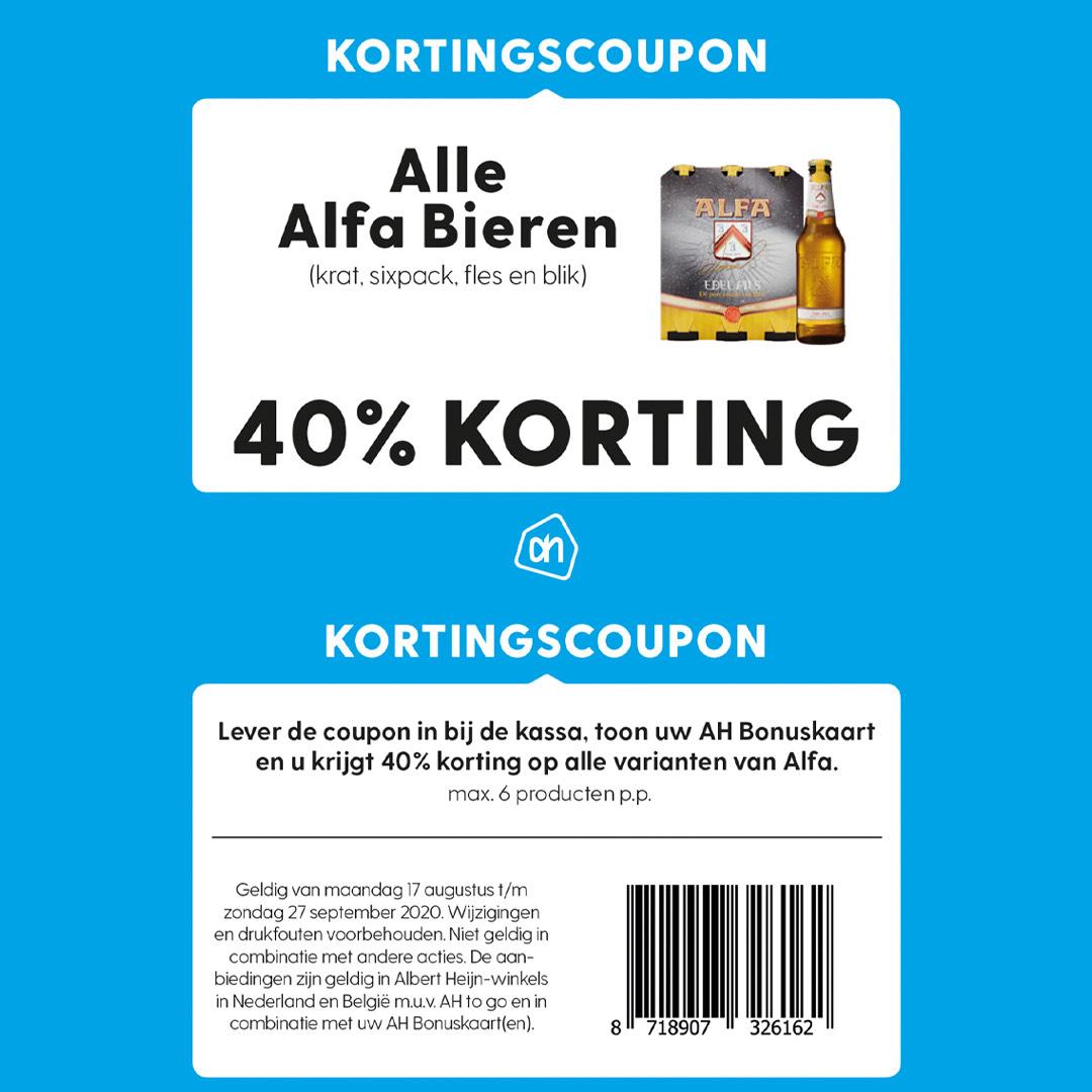 40% Korting op alle Alfa bieren bij Albert Heijn