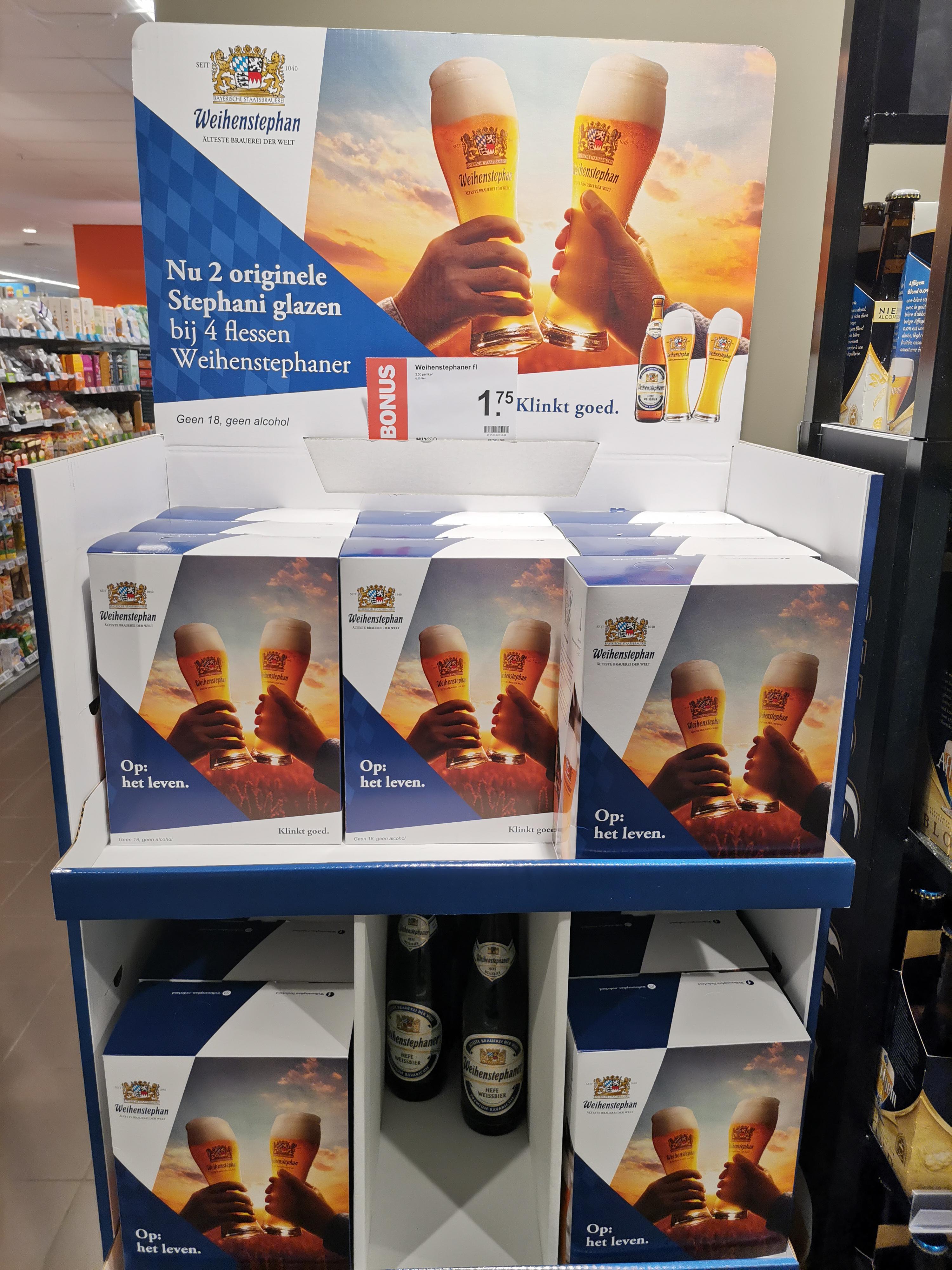 2 gratis Weihenstephaner glazen bij 4 flesjes @ AH